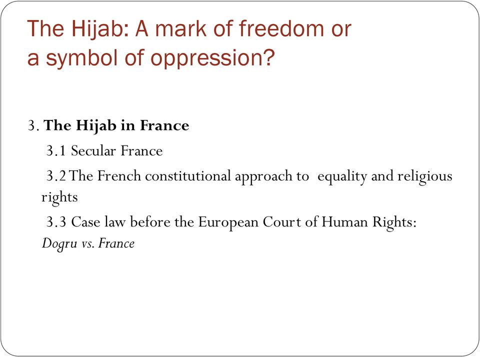 2 The French constitutional approach to equality and