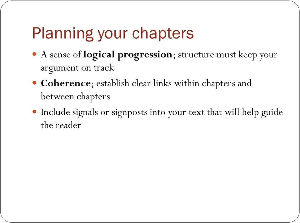 establish clear links within chapters and between chapters