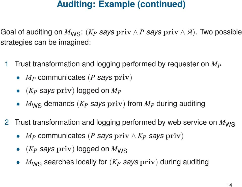 says priv) (K P says priv) logged on M P M WS demands (K P says priv) from M P during auditing 2 Trust transformation and