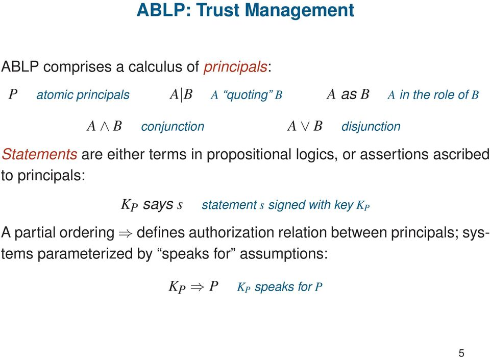 assertions ascribed to principals: K P says s statement s signed with key K P A partial ordering defines