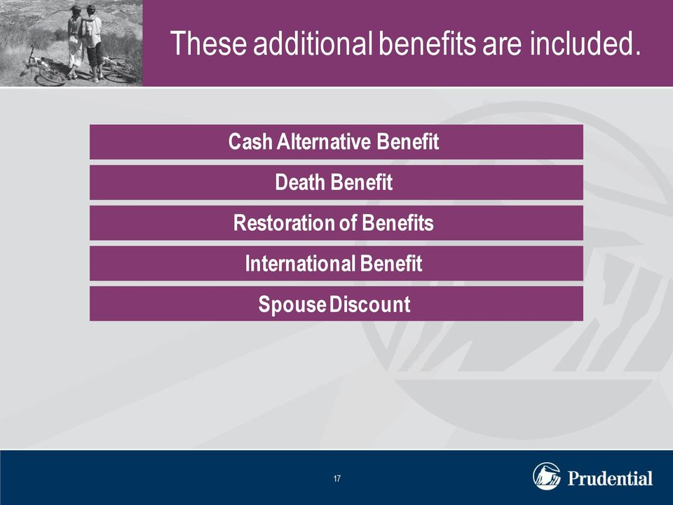 Cash Alternative Benefit Death