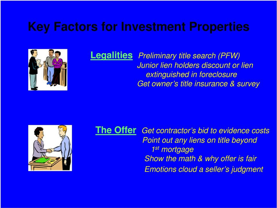 survey The Offer Get contractor s bid to evidence costs Point out any liens on title