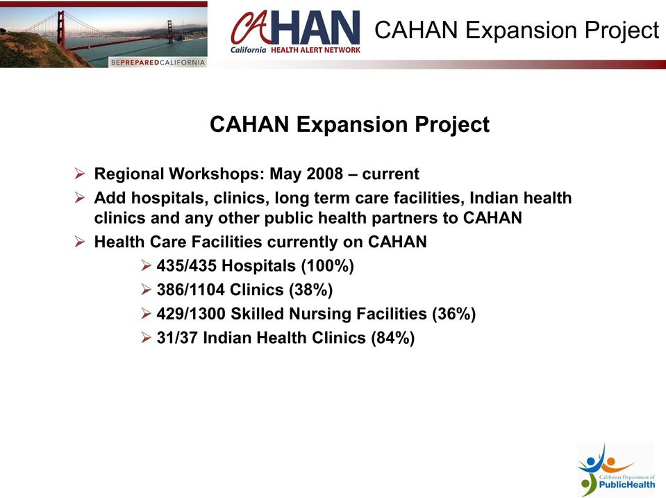 health partners to CAHAN Health Care Facilities currently on CAHAN 435/435 Hospitals (100%)