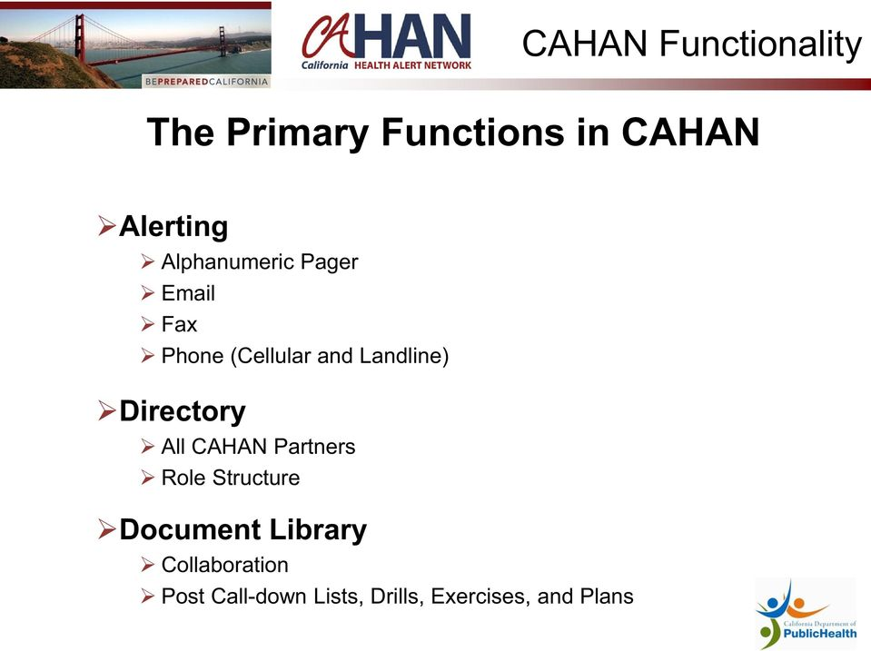 Directory All CAHAN Partners Role Structure Document Library