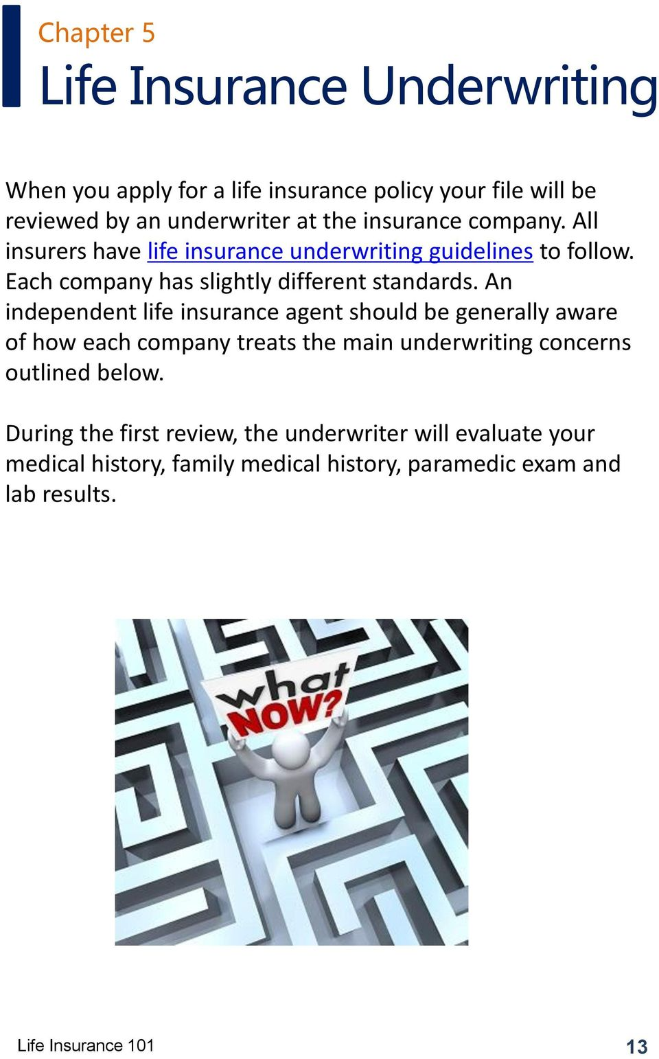 An independent life insurance agent should be generally aware of how each company treats the main underwriting concerns outlined below.