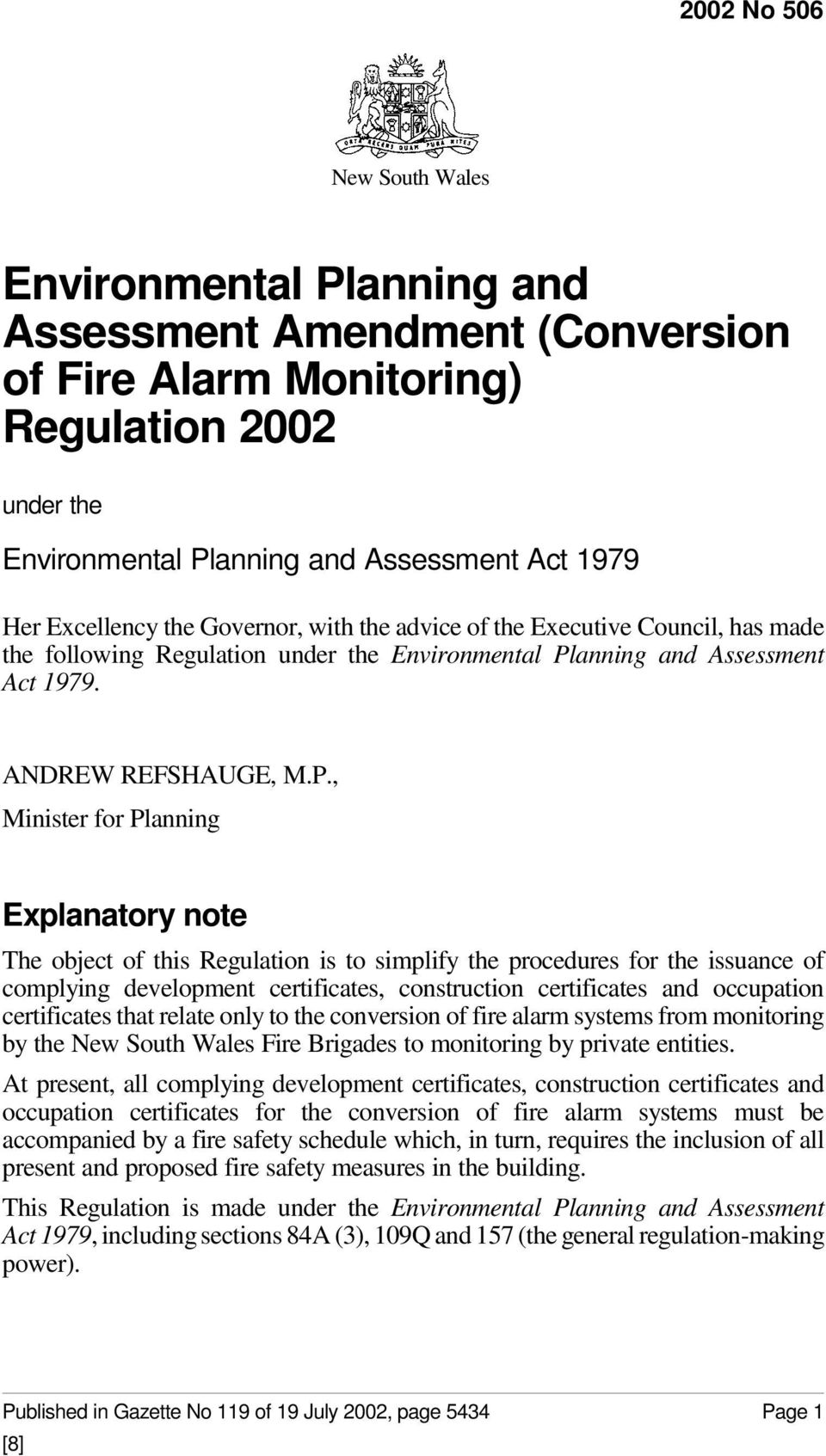anning and Assessment Act 1979. ANDREW REFSHAUGE, M.P.