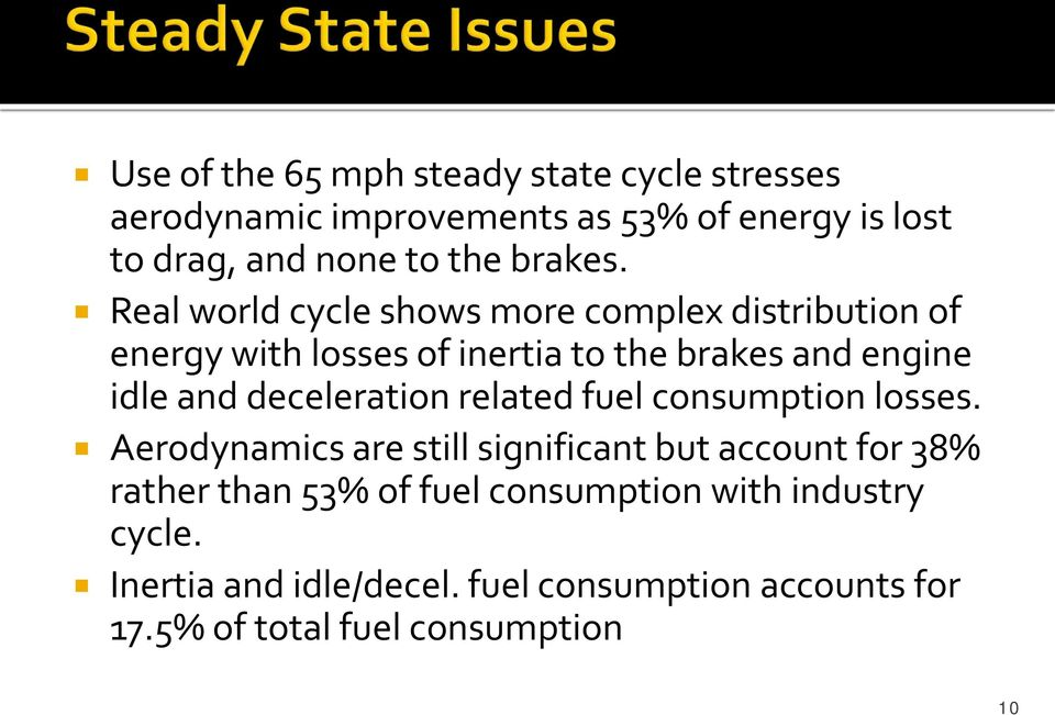 Real world cycle shows more complex distribution of energy with losses of inertia to the brakes and engine idle and