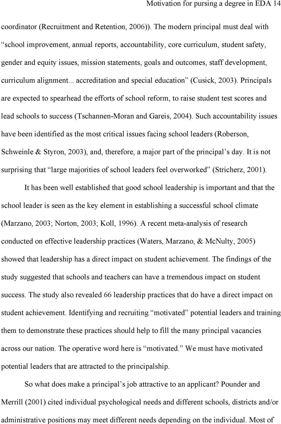 development, curriculum alignment... accreditation and special education (Cusick, 2003).