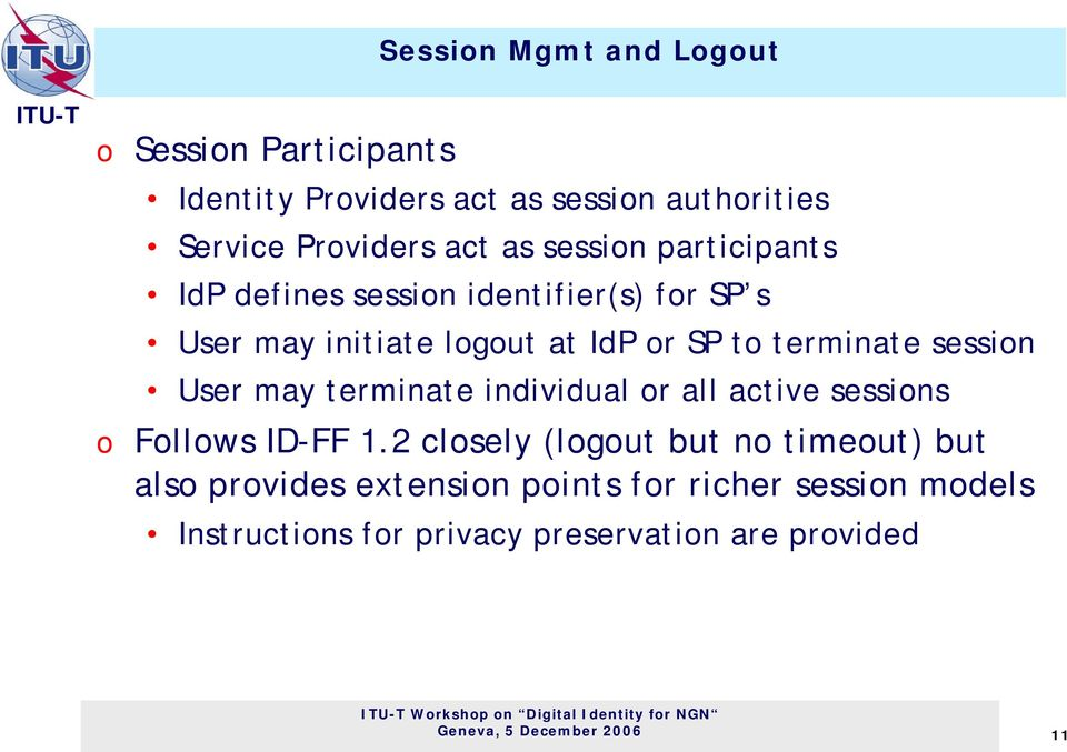 session User may terminate individual or all active sessions o Follows ID-FF 1.