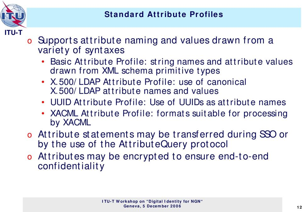 500/LDAP attribute names and values UUID Attribute Profile: Use of UUIDs as attribute names XACML Attribute Profile: formats suitable for processing