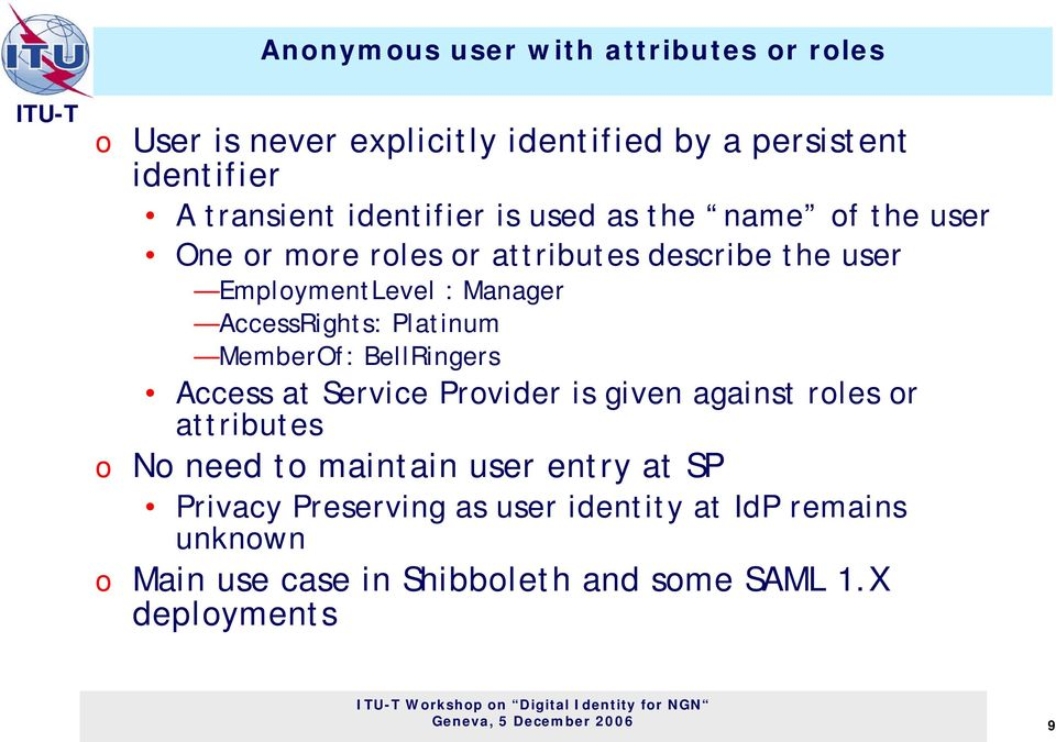 MemberOf: BellRingers Access at Service Provider is given against roles or attributes o No need to maintain user entry at SP