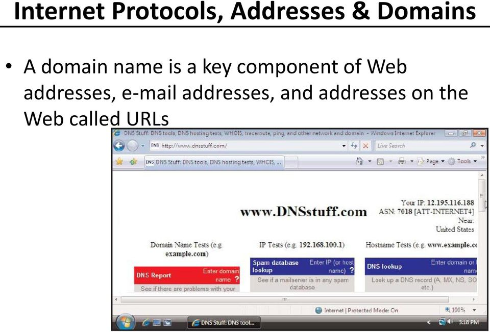 component of Web addresses, e-mail
