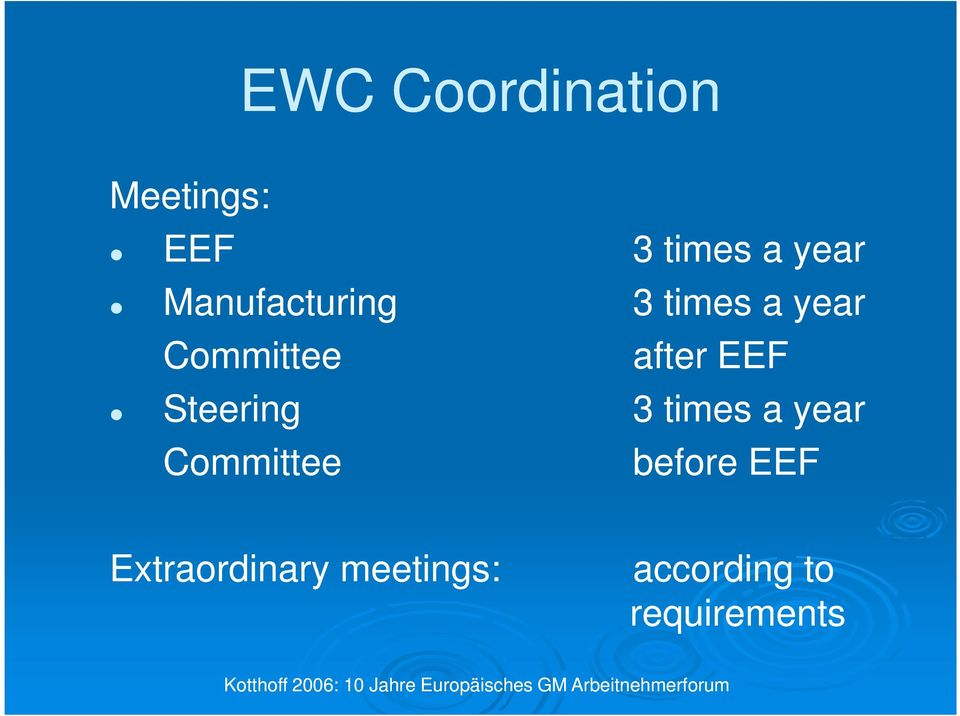 times a year before EEF Extraordinary meetings: according to