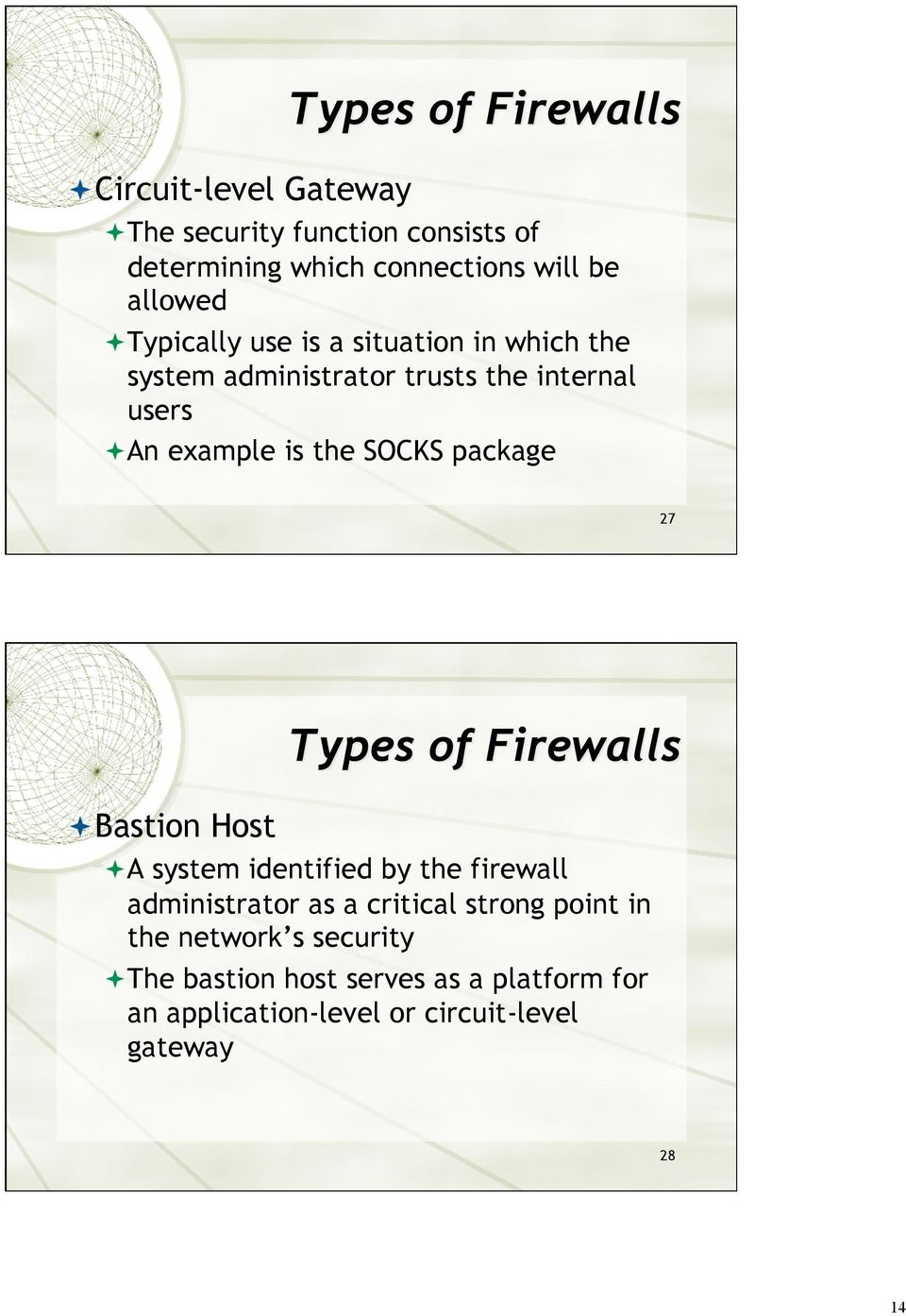 SOCKS package 27 Bastion Host A system identified by the firewall administrator as a critical strong point
