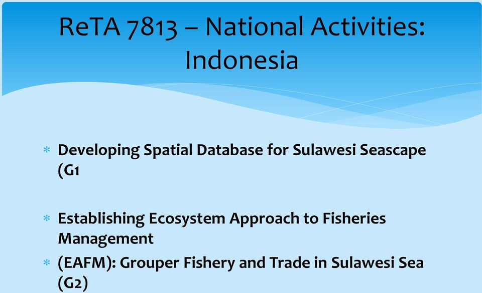 Establishing Ecosystem Approach to Fisheries