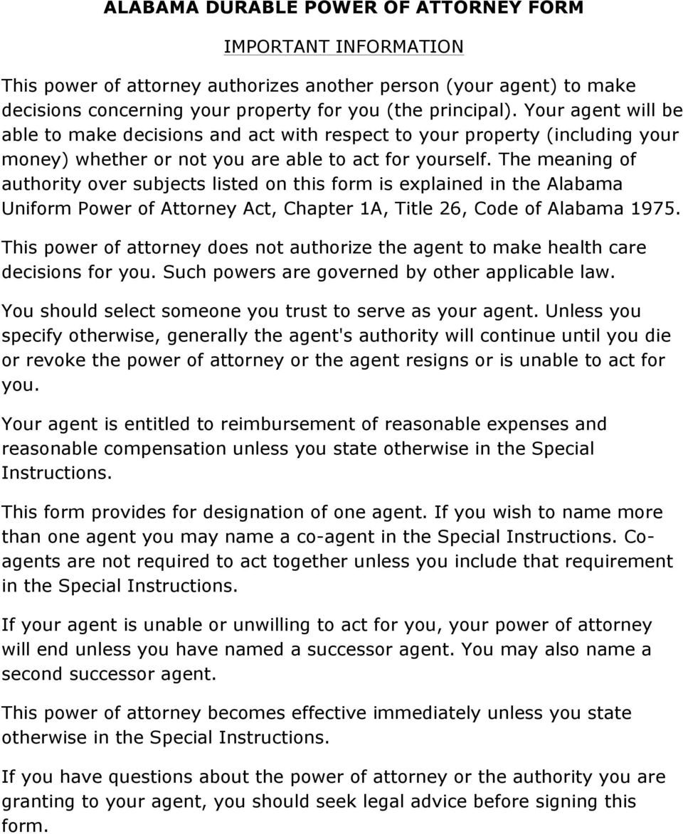 The meaning of authority over subjects listed on this form is explained in the Alabama Uniform Power of Attorney Act, Chapter 1A, Title 26, Code of Alabama 1975.