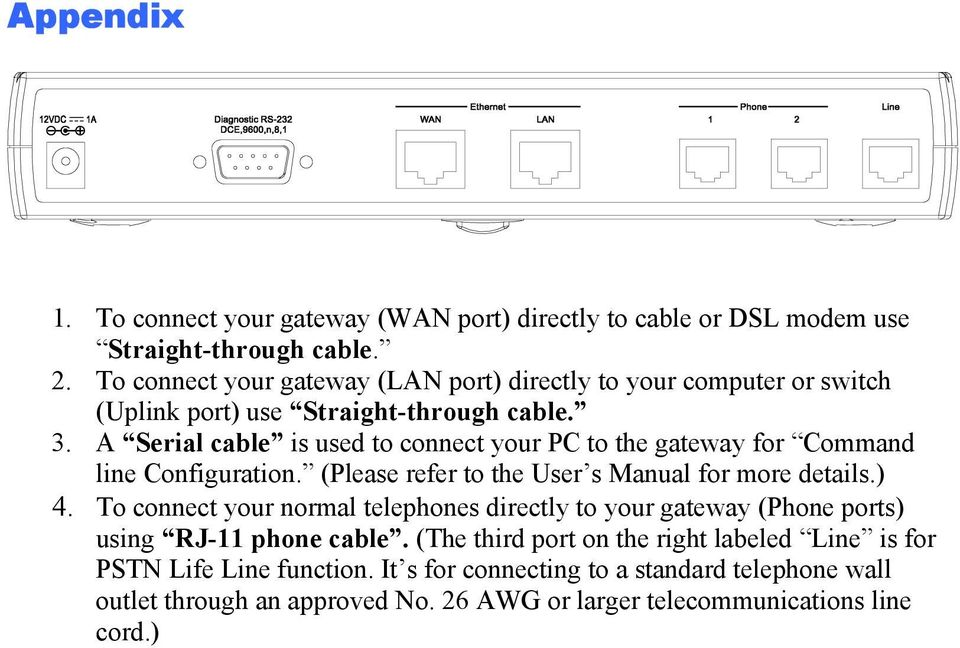 A Serial cable is used to connect your PC to the gateway for Command line Configuration. (Please refer to the User s Manual for more details.) 4.