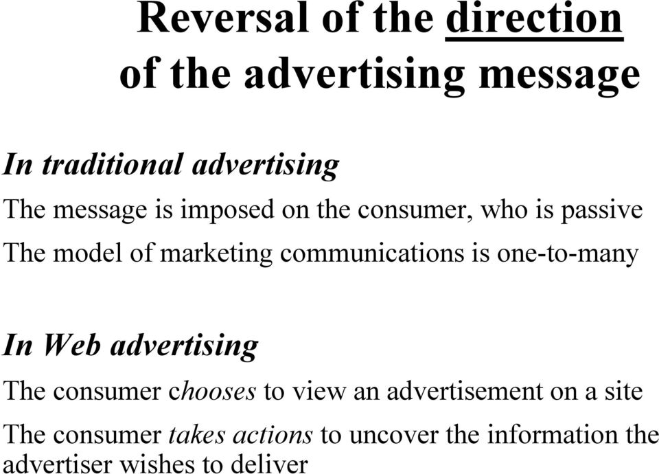 communications is one-to-many In Web advertising The consumer chooses to view an