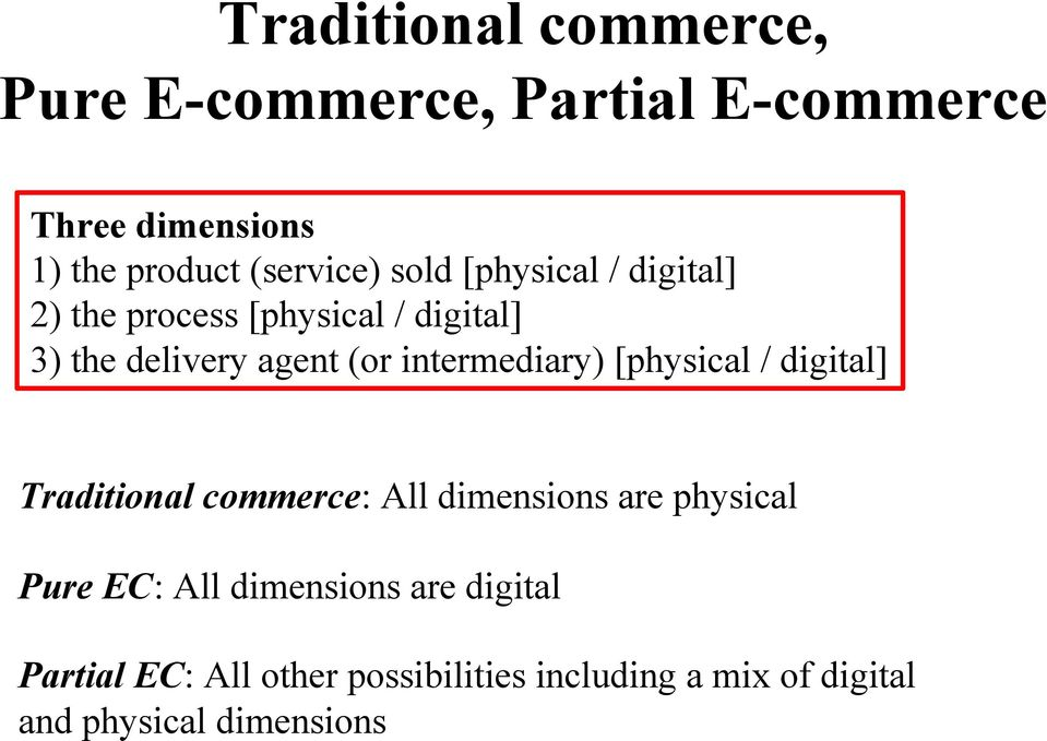 intermediary) [physical / digital] Traditional commerce: All dimensions are physical Pure EC: All