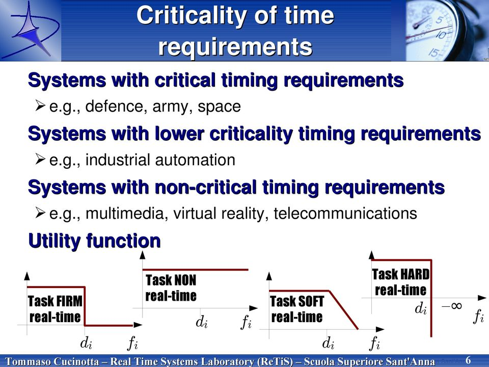 g., multimedia, virtual reality, telecommunications Utility function Task NON real-time Task FIRM