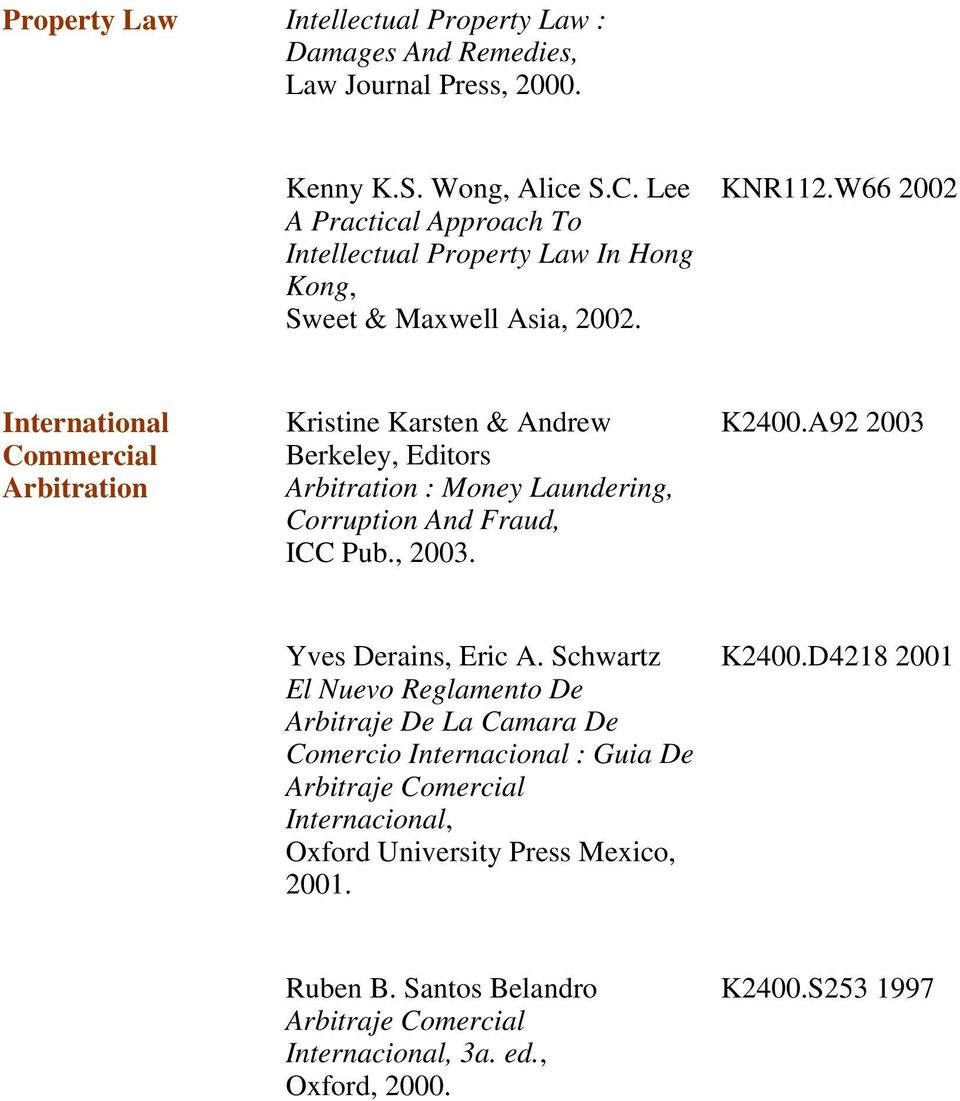 W66 2002 International Commercial Arbitration Kristine Karsten & Andrew Berkeley, Editors Arbitration : Money Laundering, Corruption And Fraud, ICC Pub., 2003. K2400.