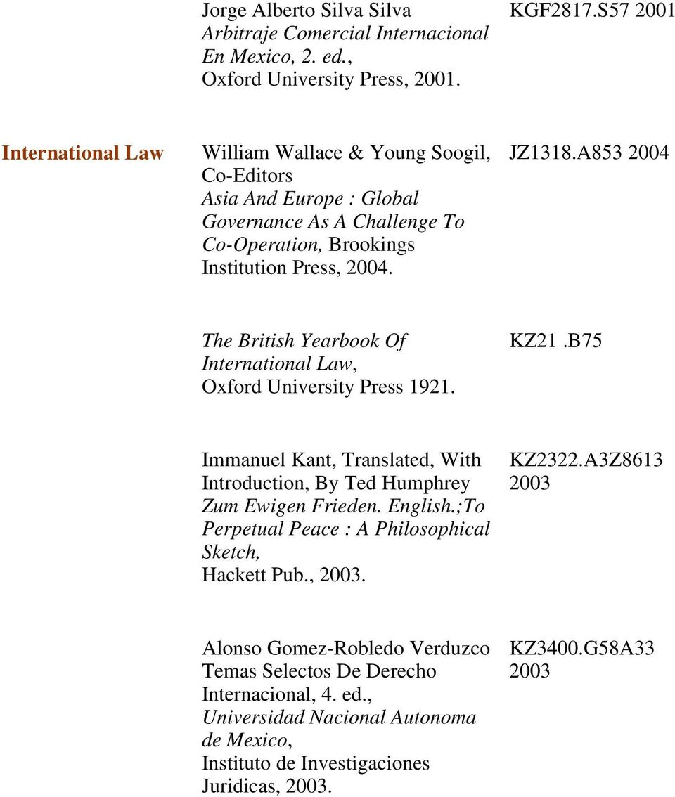 A853 2004 The British Yearbook Of International Law, Oxford University Press 1921. KZ21.B75 Immanuel Kant, Translated, With Introduction, By Ted Humphrey Zum Ewigen Frieden. English.