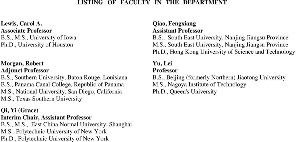 S., Polytechnic University of New York Ph.D., Polytechnic University of New York Qiao, Fengxiang Assistant Professor B.S., South East University, Nanjing Jiangsu Province M.S., South East University, Nanjing Jiangsu Province Ph.