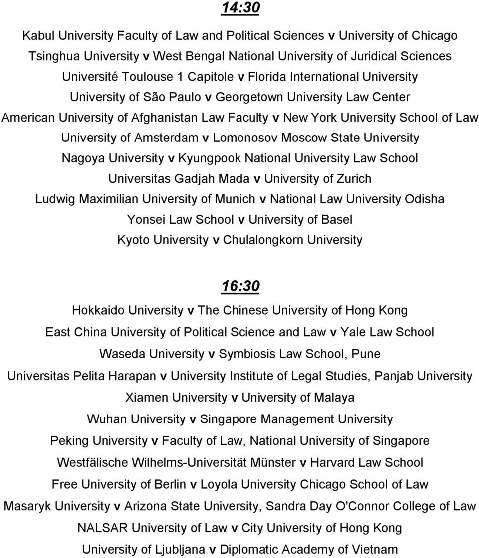 v Lomonosov Moscow State University Nagoya University v Kyungpook National University Law School Universitas Gadjah Mada v University of Zurich Ludwig Maximilian University of Munich v National Law