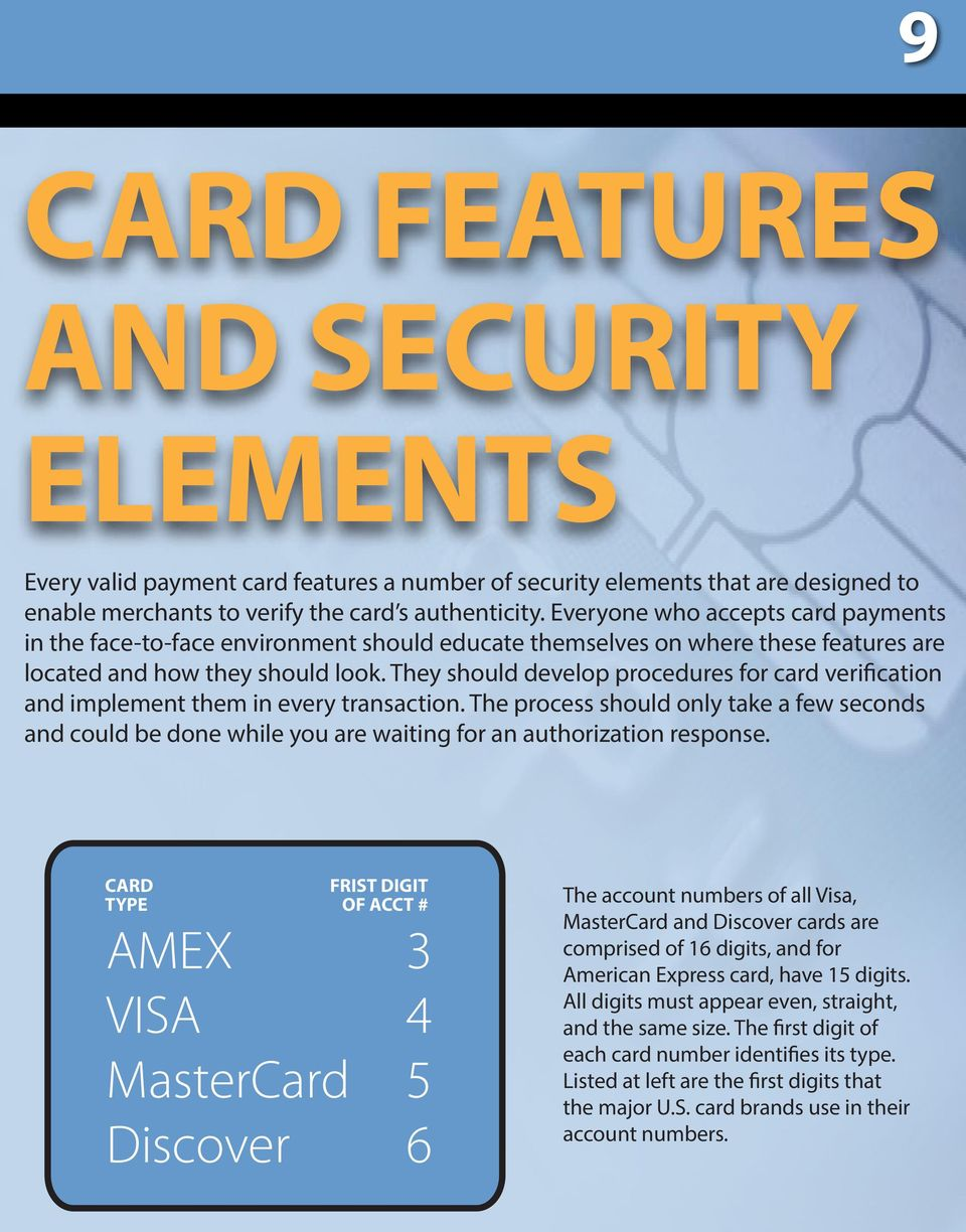 They should develop procedures for card verification and implement them in every transaction.