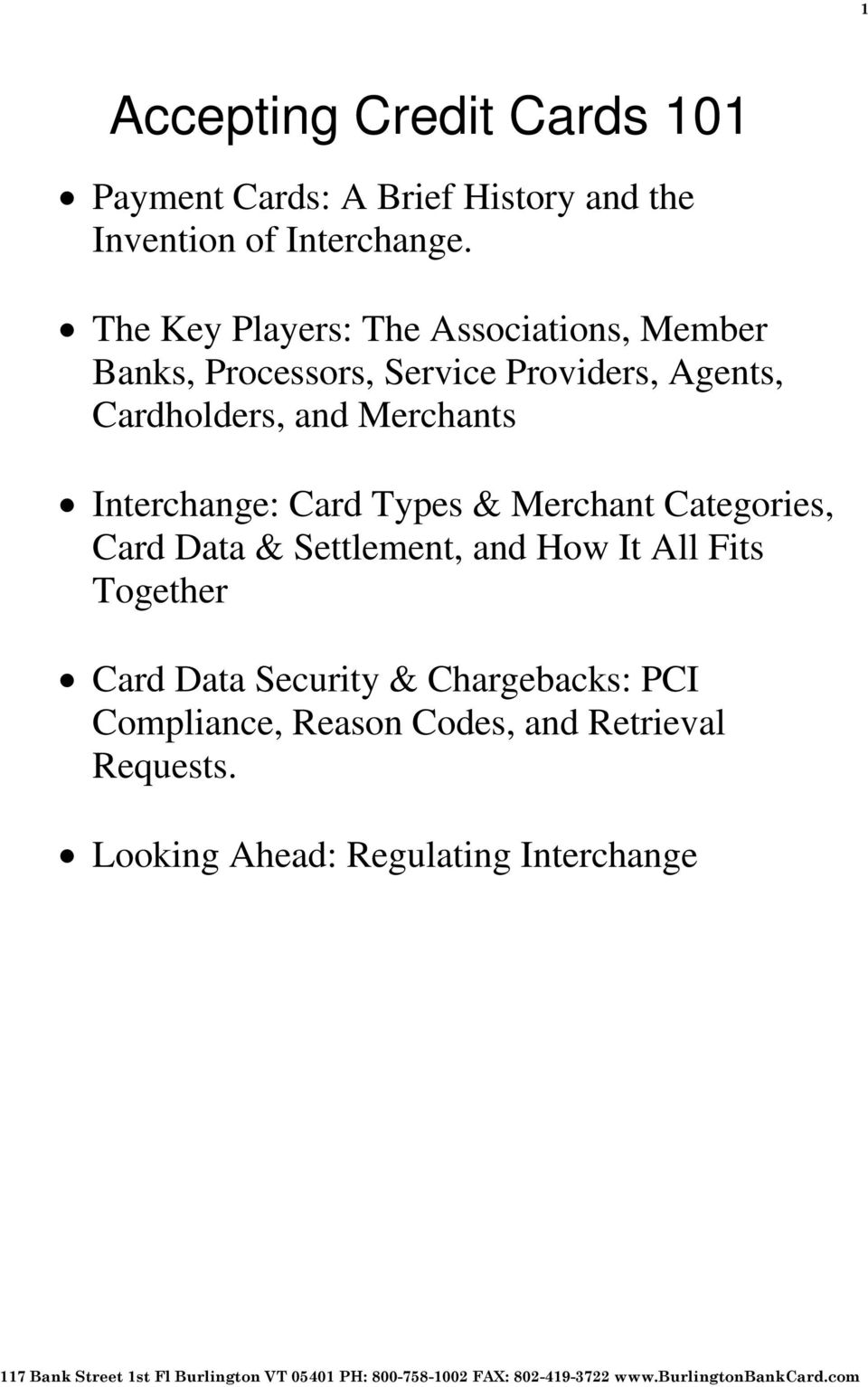 Cardholders, and Merchants : Card Types & Merchant Categories, Card Data & Settlement, and How It
