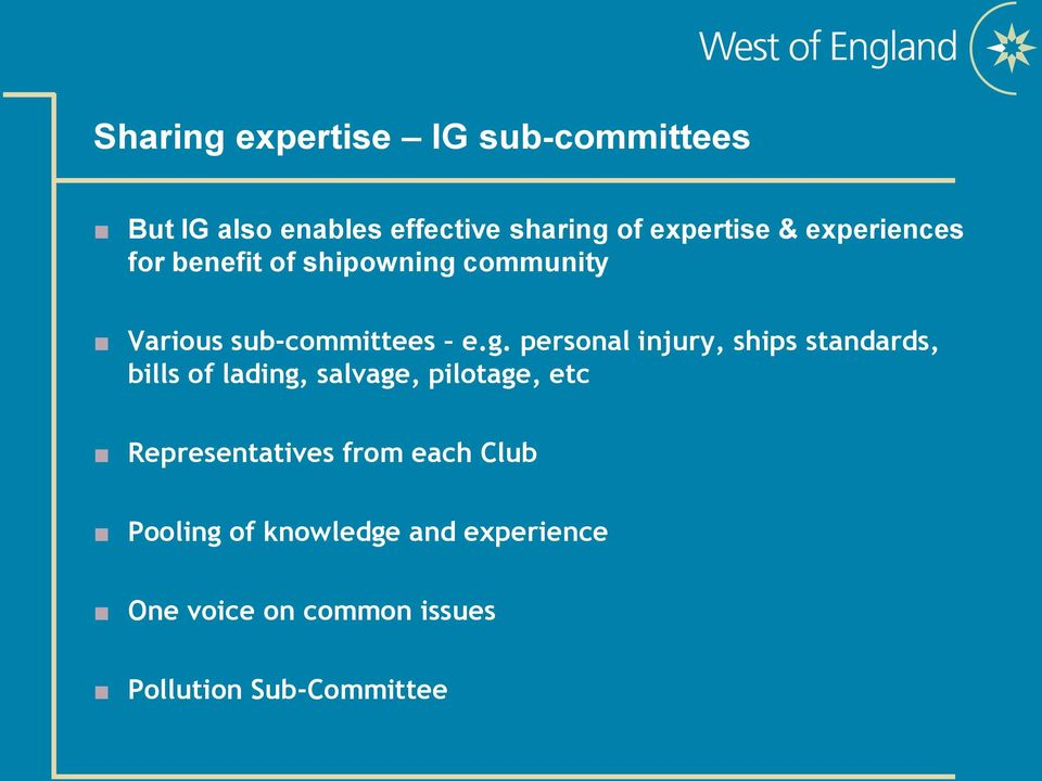 community Various sub-committees e.g.