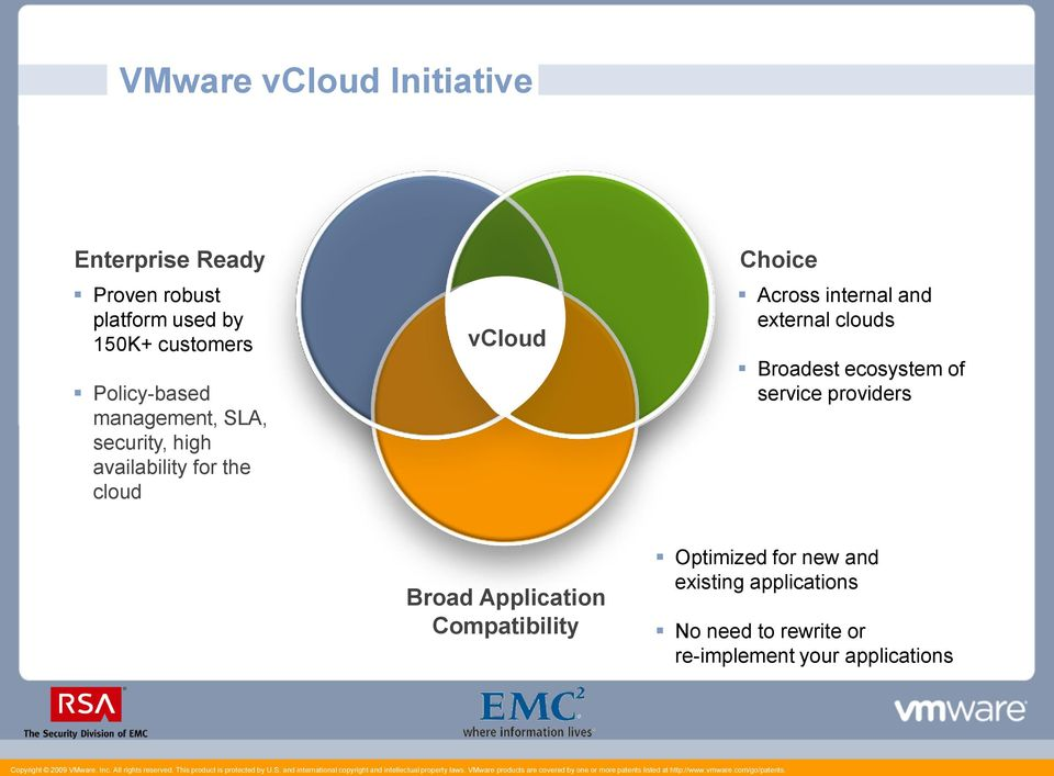 internal and external clouds Broadest ecosystem of service providers Broad Application