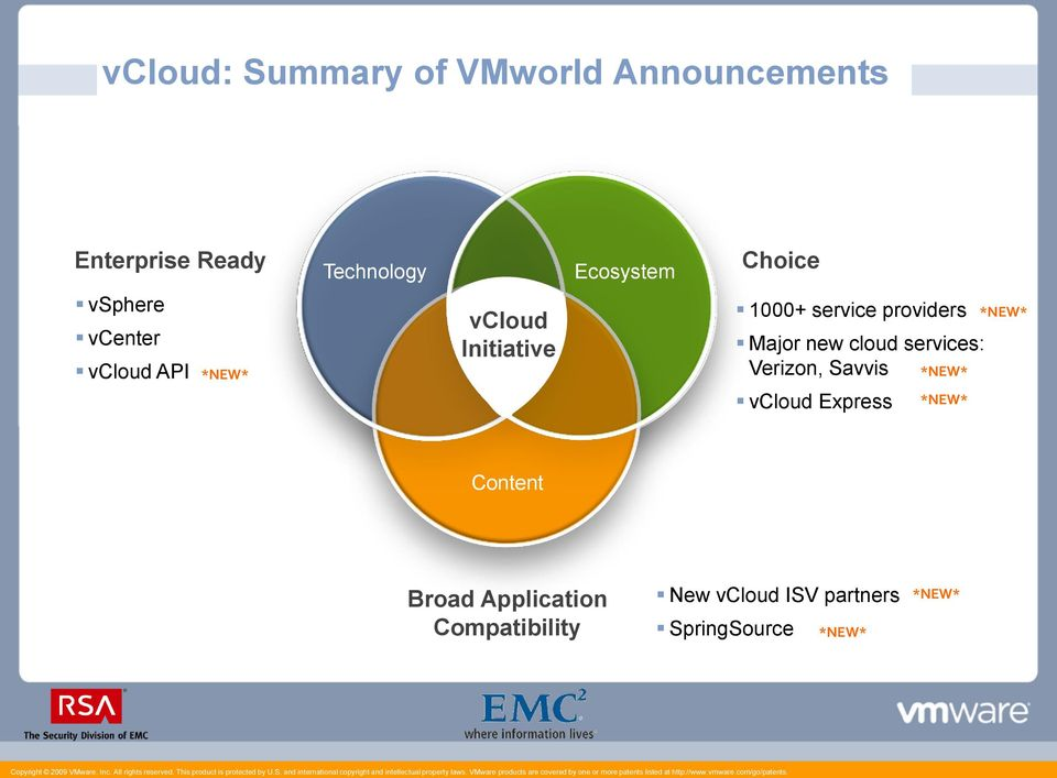 providers Major new cloud services: Verizon, Savvis *NEW* vcloud Express *NEW*