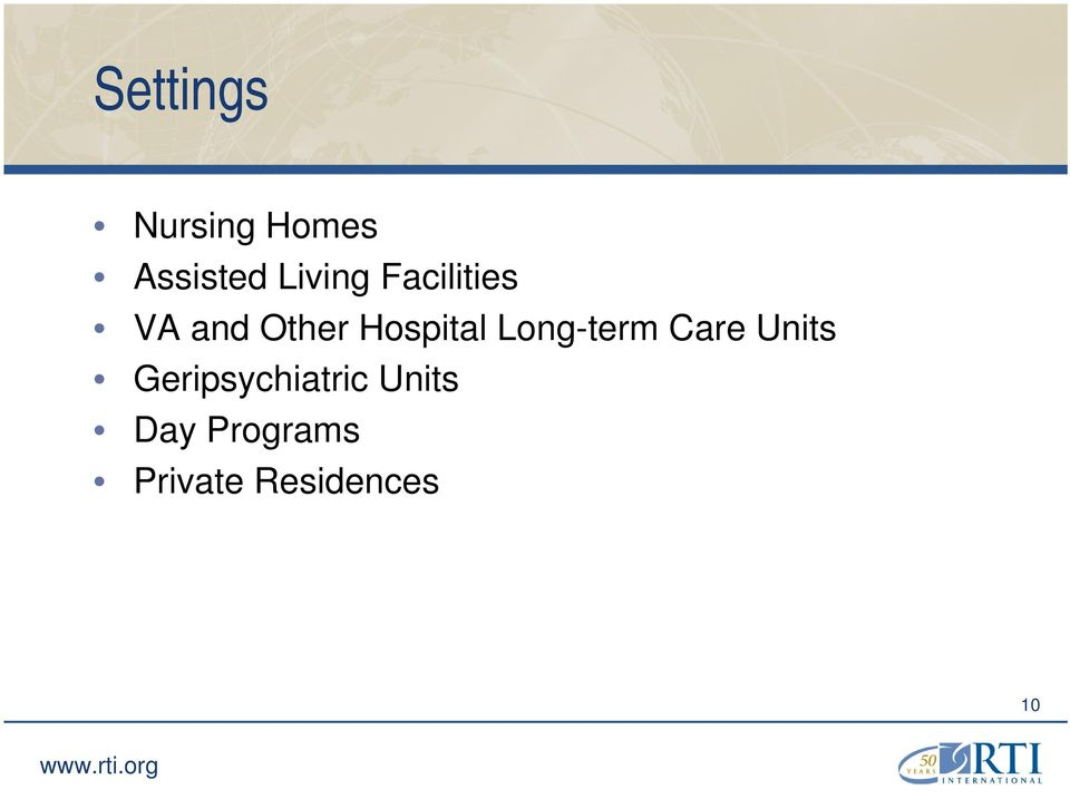 Hospital Long-term Care Units