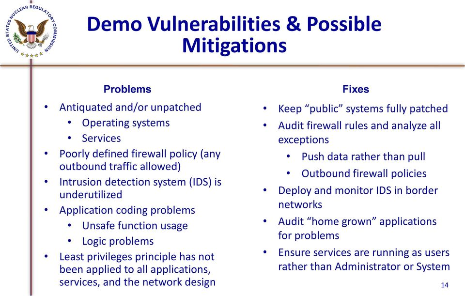 applications, services, and the network design Fixes Keep public systems fully patched Audit firewall rules and analyze all exceptions Push data rather than pull Outbound