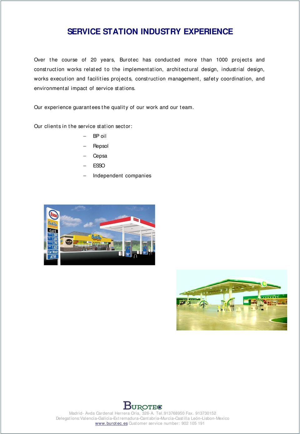 projects, construction management, safety coordination, and environmental impact of service stations.