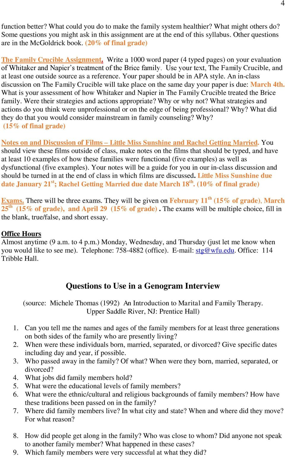 Write a 1000 word paper (4 typed pages) on your evaluation of Whitaker and Napier s treatment of the Brice family. Use your text, The Family Crucible, and at least one outside source as a reference.