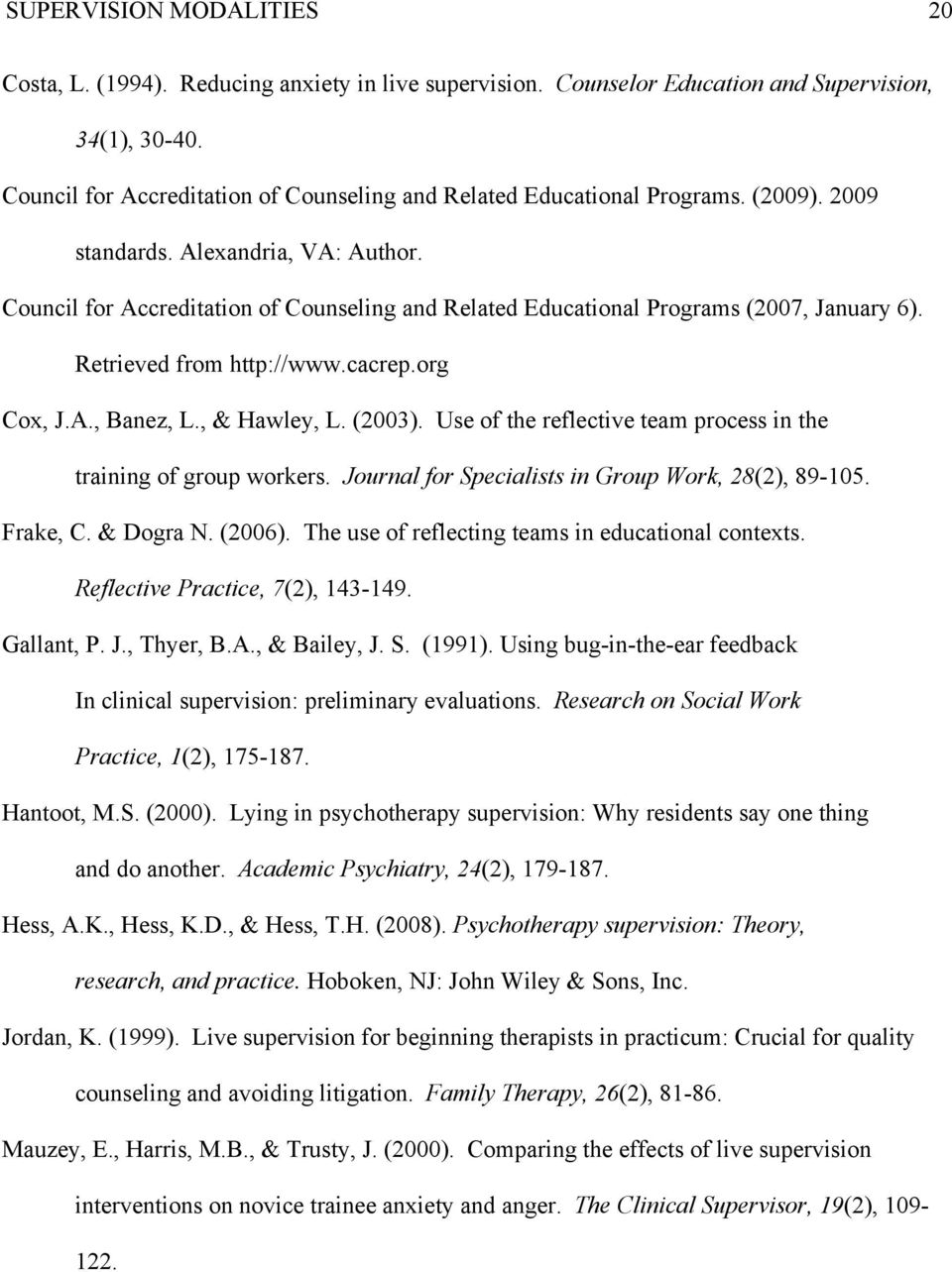 Council for Accreditation of Counseling and Related Educational Programs (2007, January 6). Retrieved from http://www.cacrep.org Cox, J.A., Banez, L., & Hawley, L. (2003).