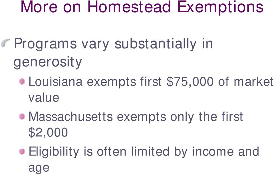 $75,000 of market value Massachusetts exempts only
