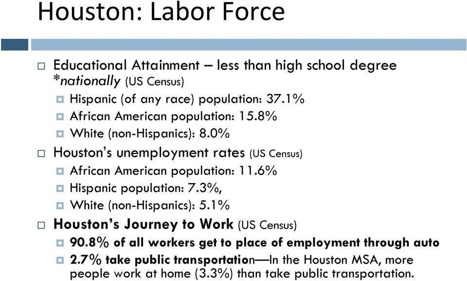 0% Houston s unemployment rates (US Census) African American population: 11.6% Hispanic population: 7.3%, White (non-hispanics): 5.