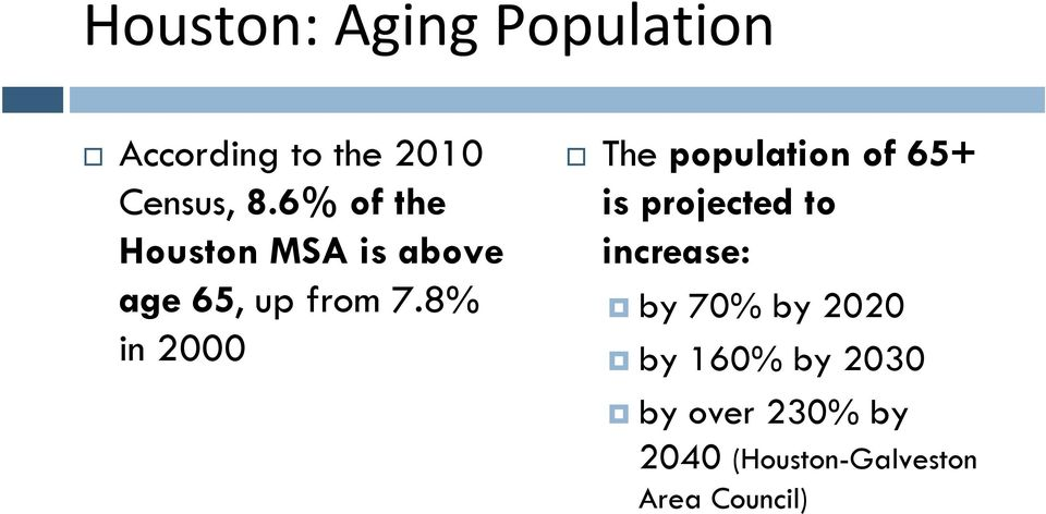 8% in 2000 The population of 65+ is projected to increase: by