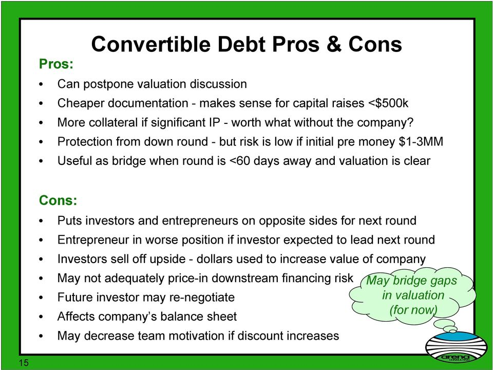 Protection from down round - but risk is low if initial pre money $1-3MM Useful as bridge when round is <60 days away and valuation is clear Cons: Puts investors and entrepreneurs on