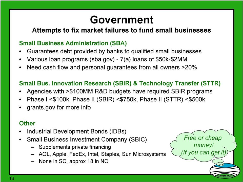 Innovation Research (SBIR) & Technology Transfer (STTR) Agencies with >$100MM R&D budgets have required SBIR programs Phase I <$100k, Phase II (SBIR) <$750k, Phase II (STTR) <$500k