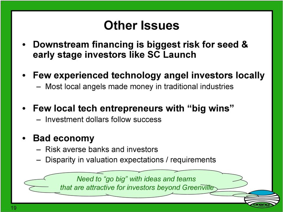 entrepreneurs with big wins Investment dollars follow success Bad economy Risk averse banks and investors Disparity