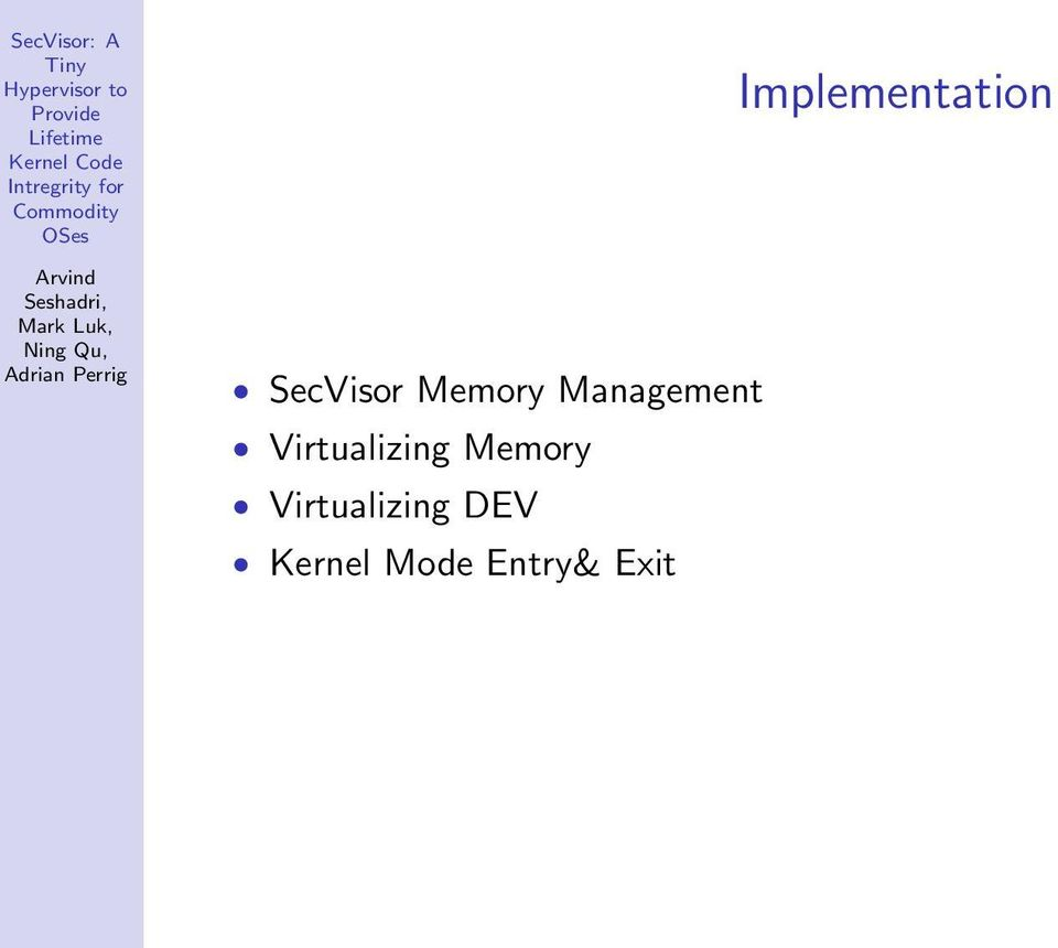 Memory Virtualizing DEV