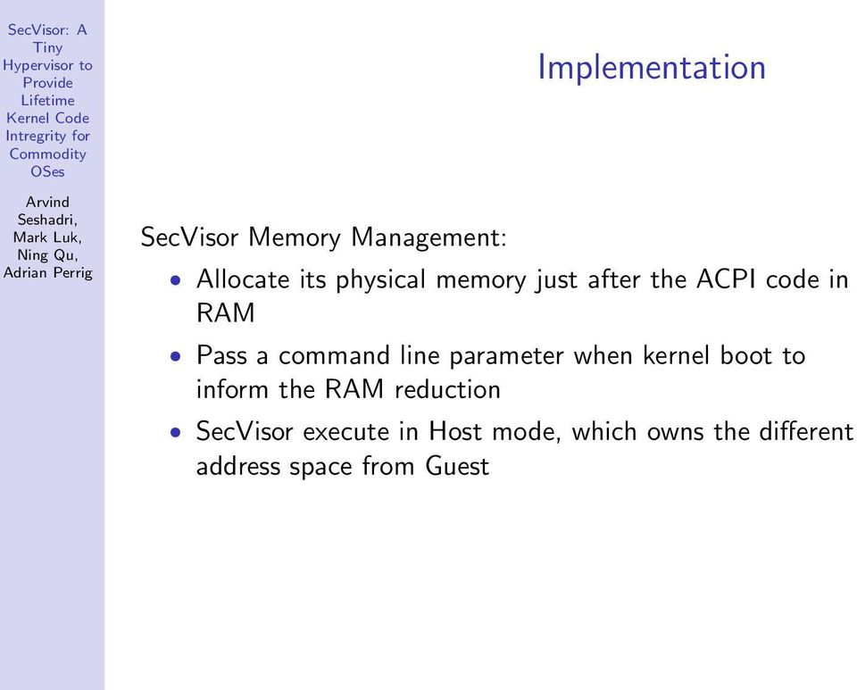 parameter when kernel boot to inform the RAM reduction SecVisor