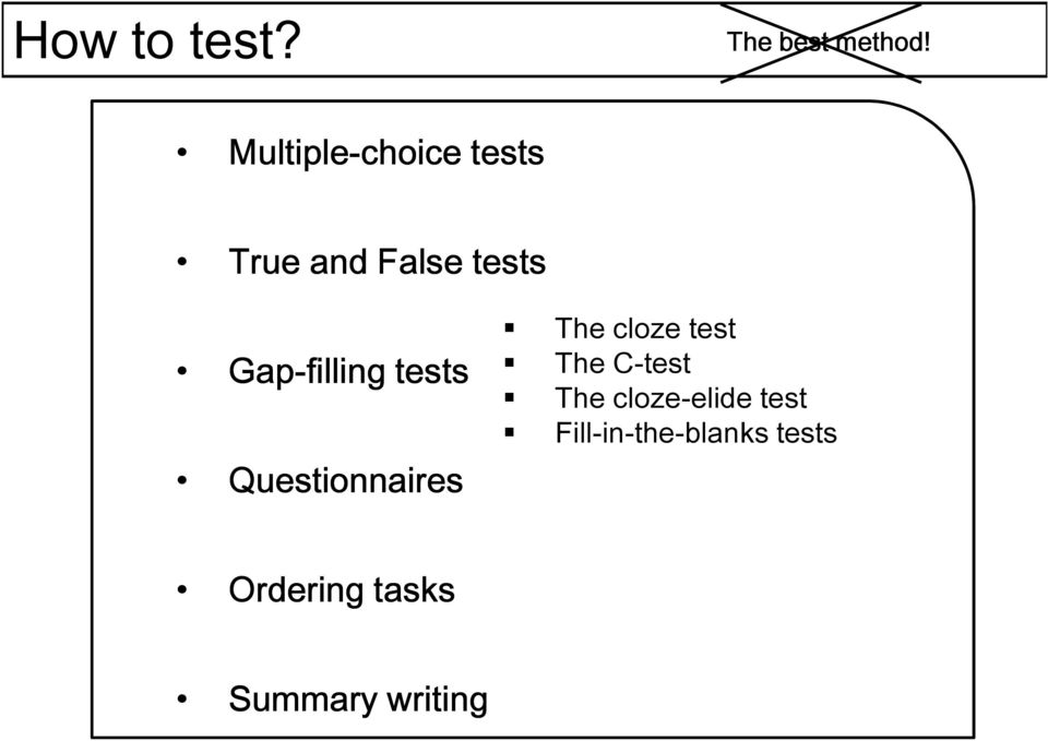 Gap-filling tests Questionnaires The cloze test The