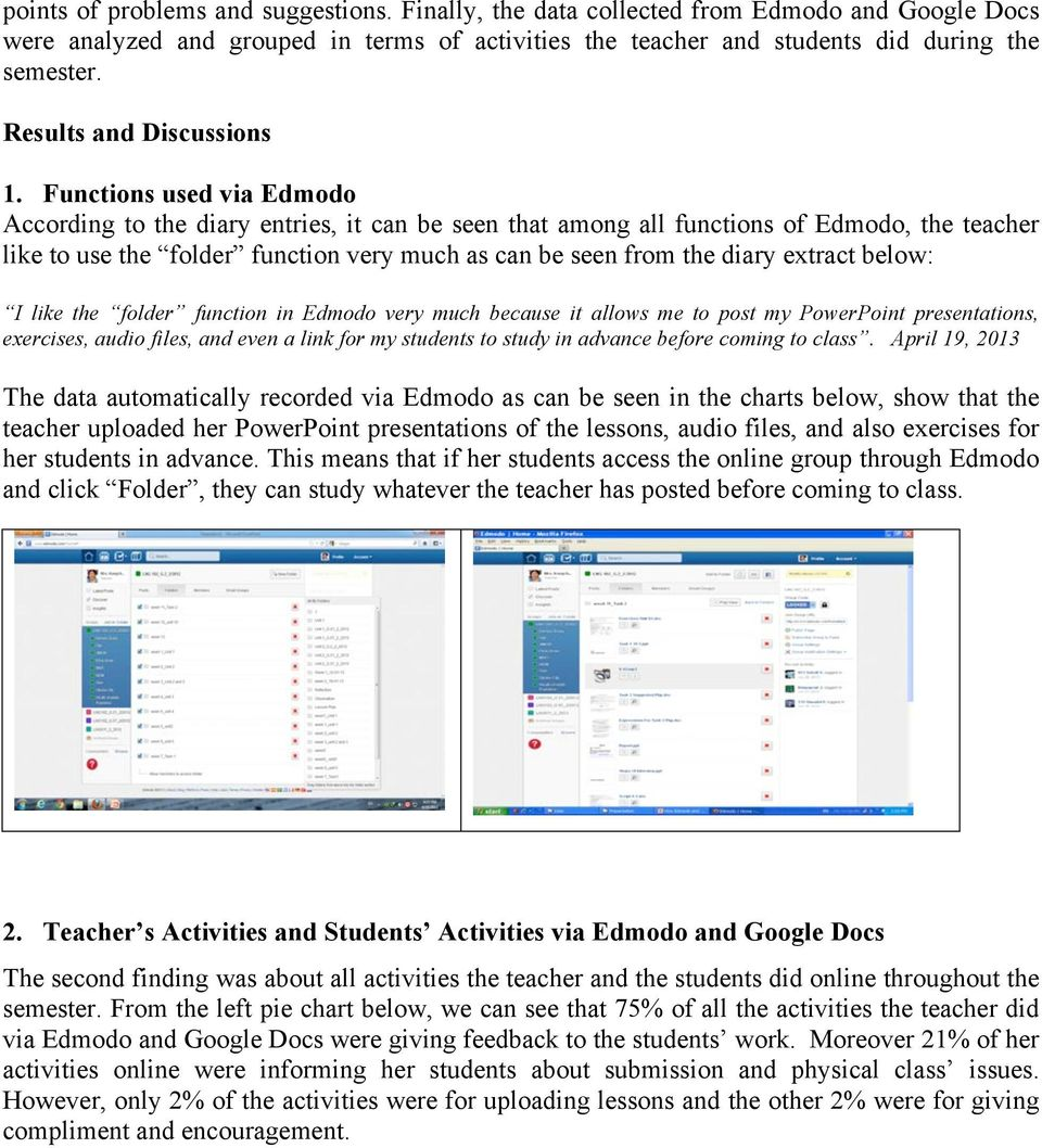 Functions used via Edmodo According to the diary entries, it can be seen that among all functions of Edmodo, the teacher like to use the folder function very much as can be seen from the diary
