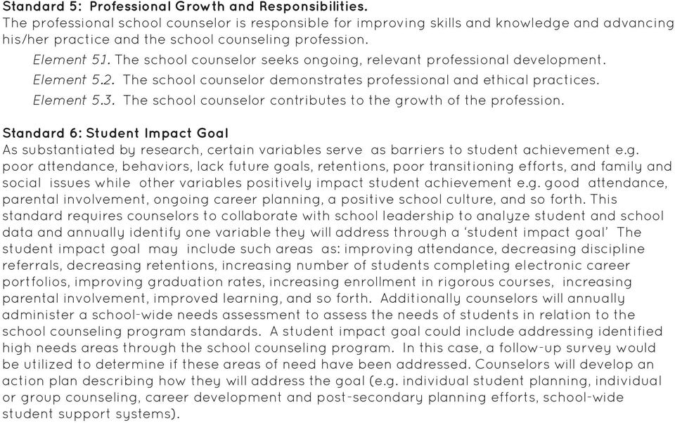 The school counselor seeks ongoing, relevant professional development. Element 5.2. The school counselor demonstrates professional and ethical practices. Element 5.3.
