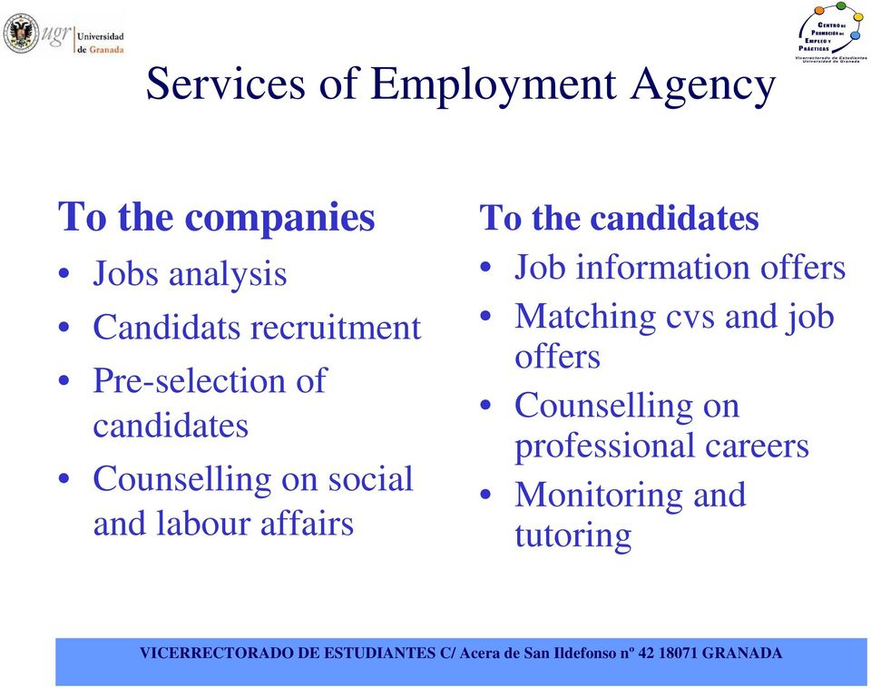 social and labour affairs To the candidates Job information offers